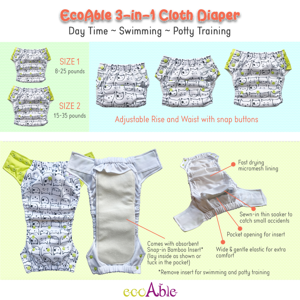 EcoAble 3-in-1 Cloth Diaper for Day Time, Swim & Potty Training
