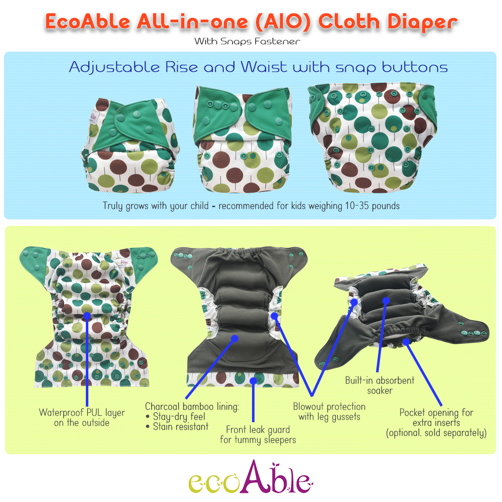 EcoAble All-in-one Cloth Diaper Guide (AIO)