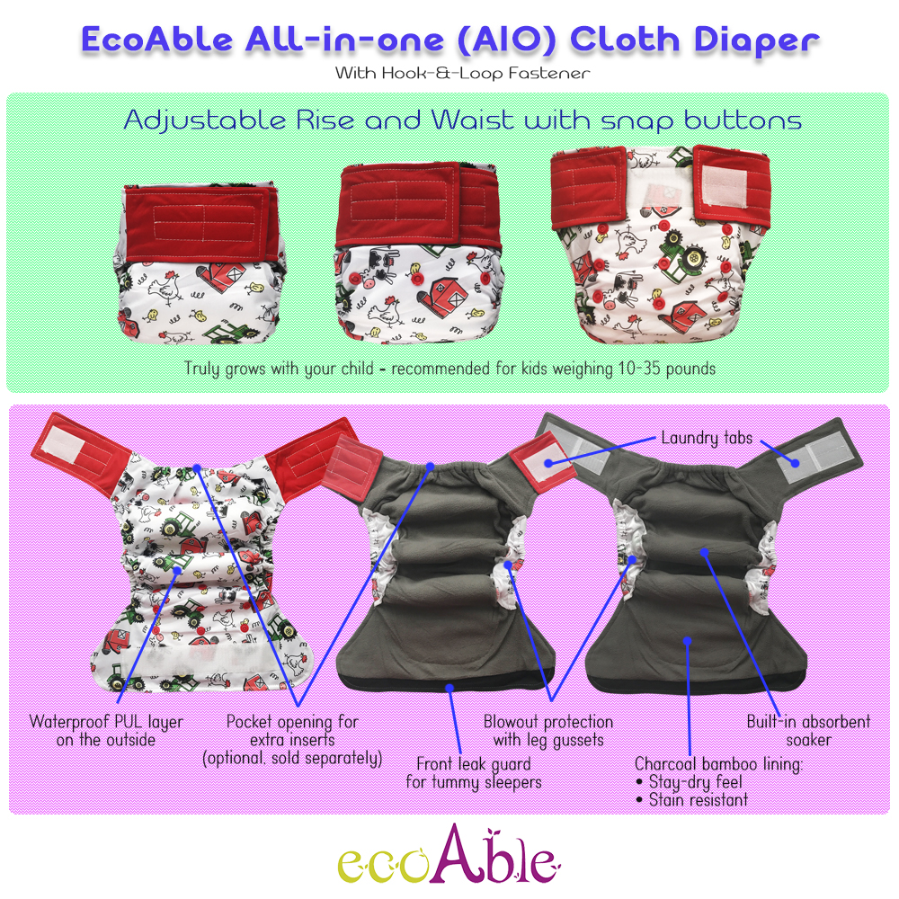 EcoAble Hook-&-Loop All-in-one Cloth Diaper Guide (AIO)