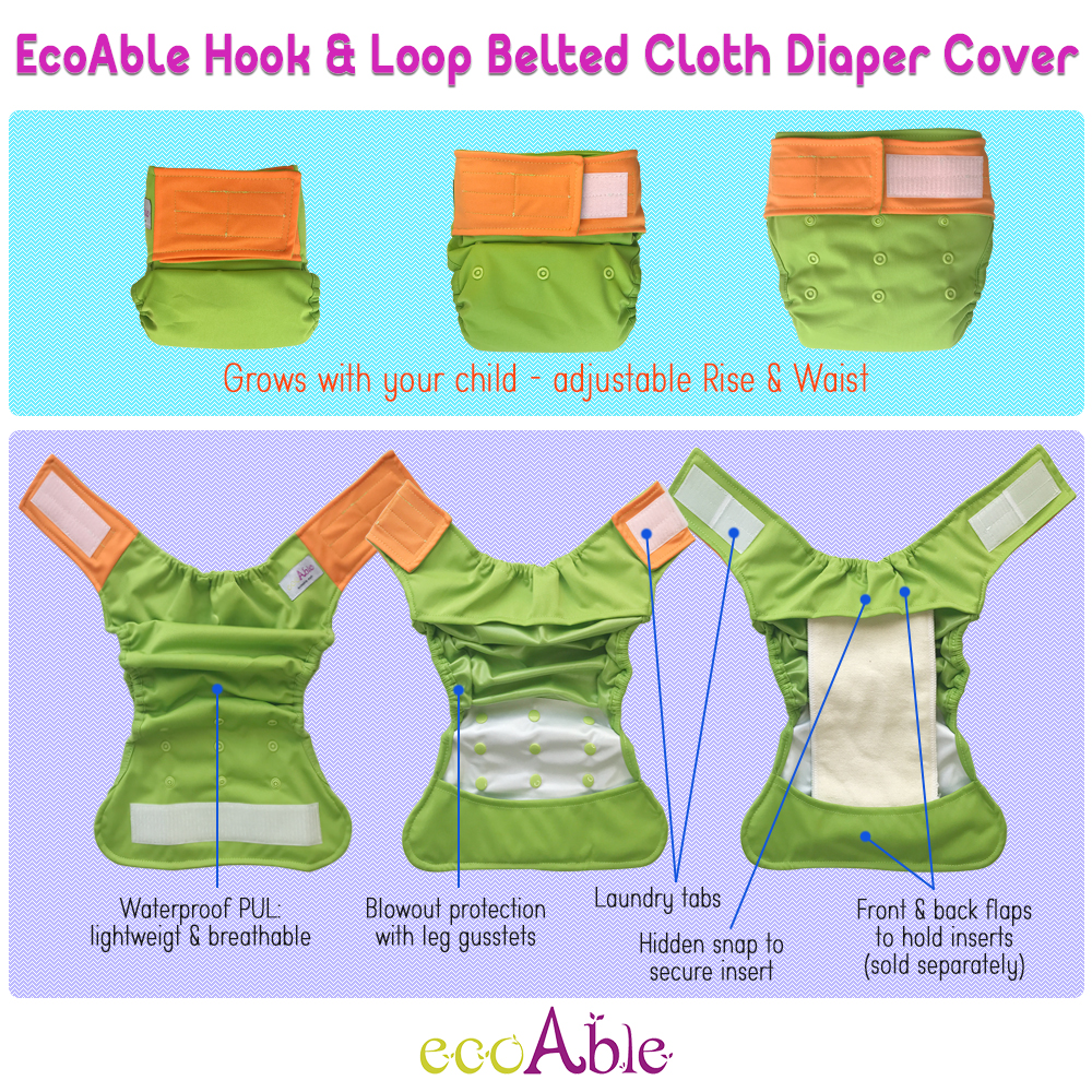 EcoAble Baby Cloth Diaper Cover with Hook-&-Loop closure