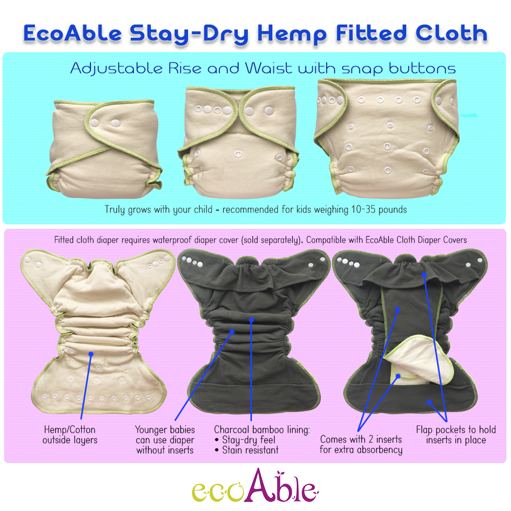 EcoAble Baby Fitted Cloth Diaper for Night Time