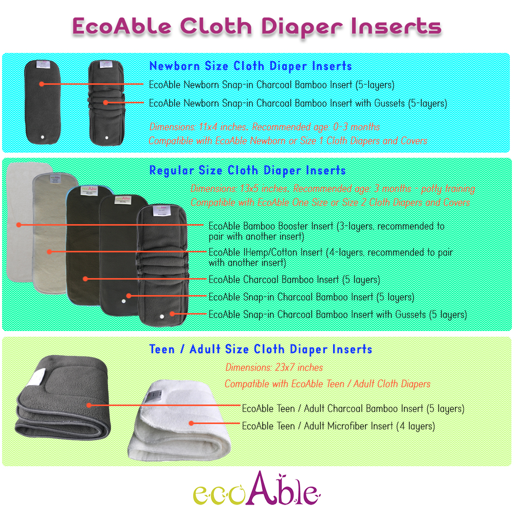 EcoAble Baby Cloth Diaper Inserts
