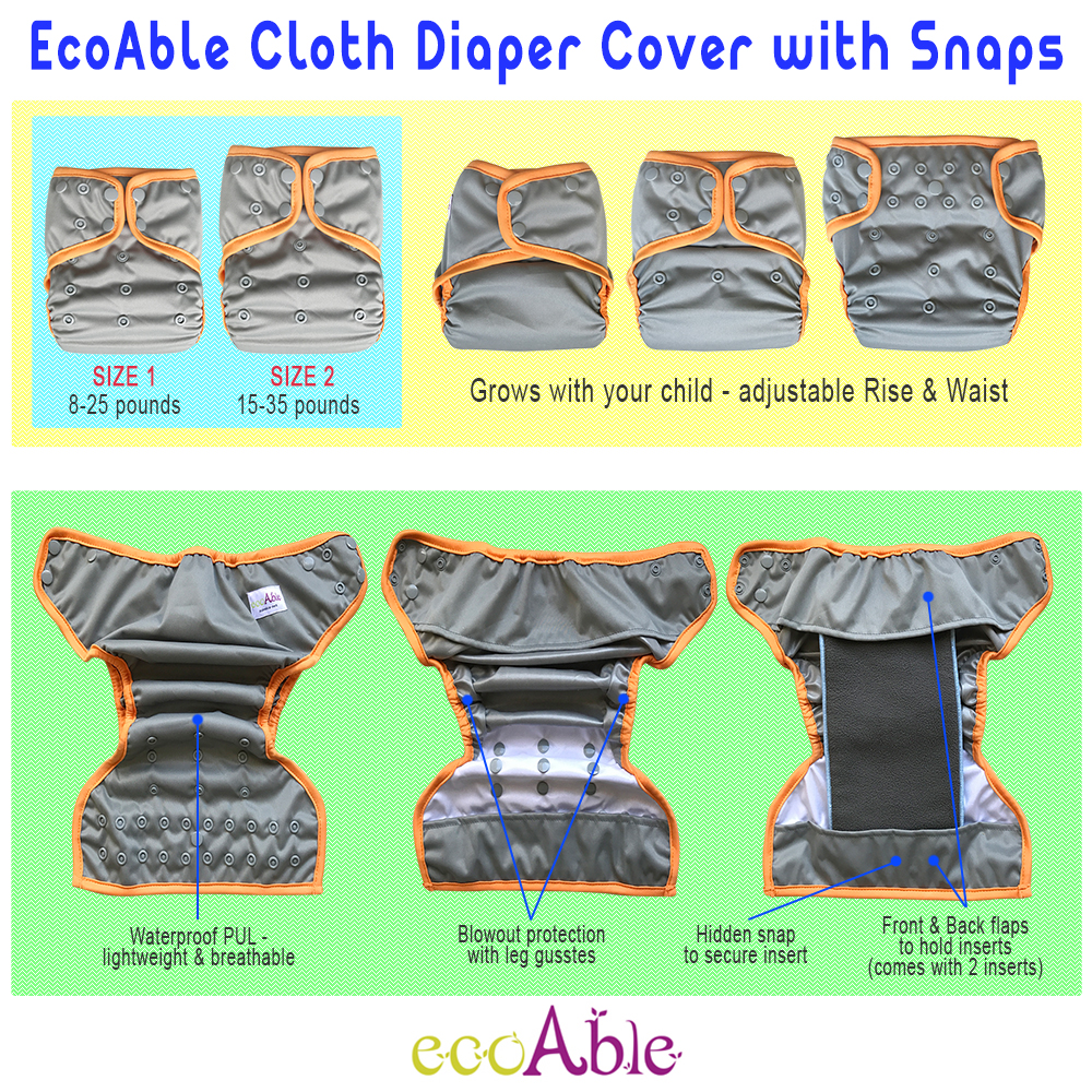 EcoAble Baby Cloth Diaper Cover with Snaps