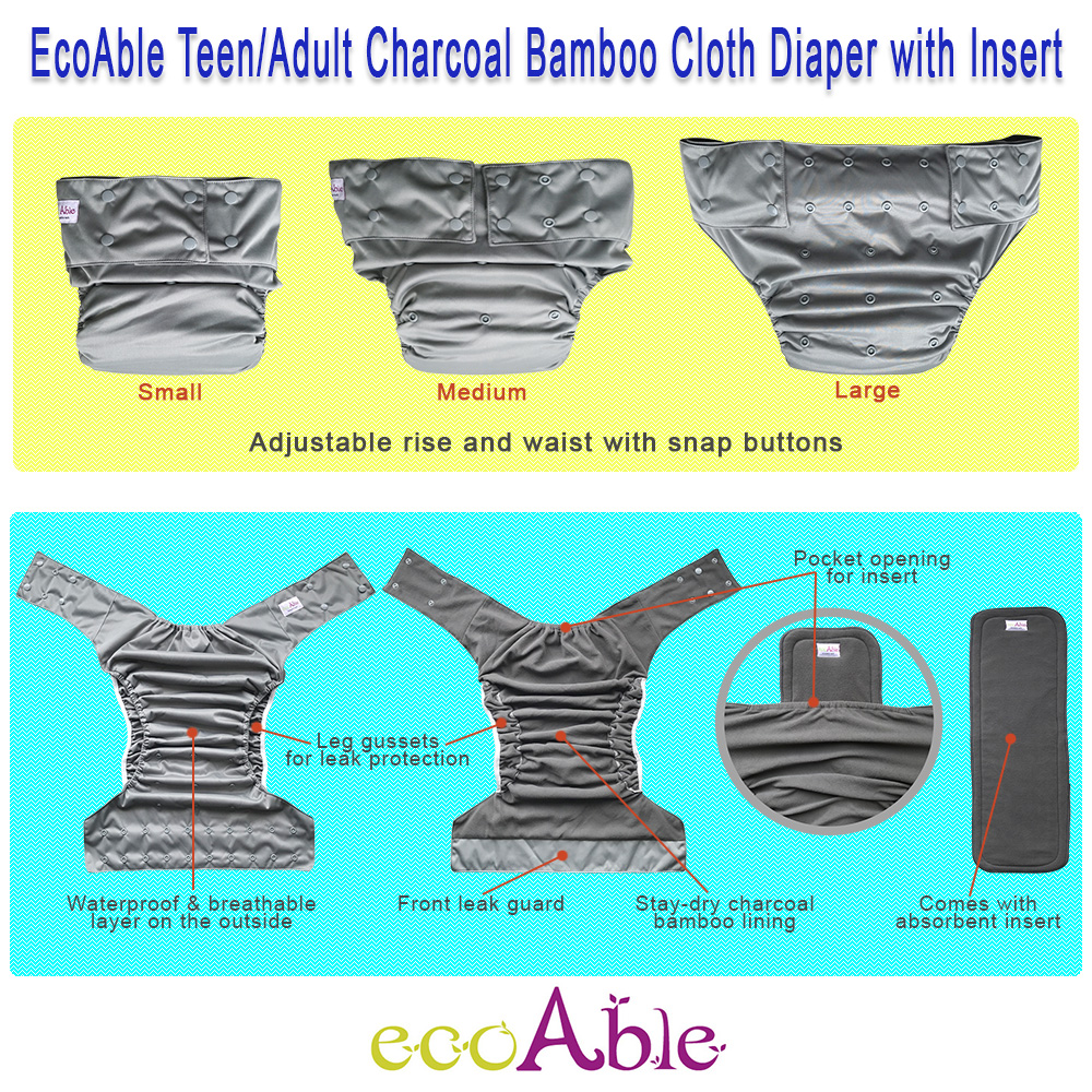 EcoAble Teen & Adult Incontinence Cloth Diaper with Charcoal Bamboo Insert Pad, One Size