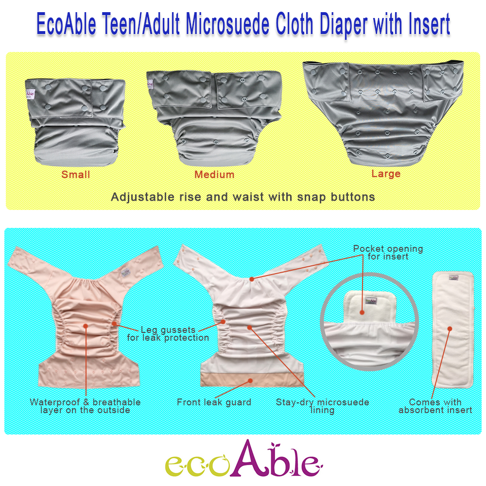 EcoAble Teen & Adult Incontinence Cloth Diaper with Microfiber Insert Pad, One Size